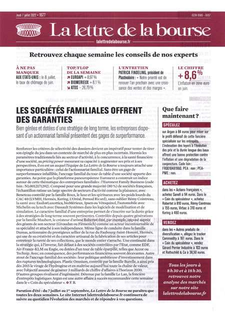 Achat et abonnement LA LETTRE DE LA BOURSE - Revue, magazine, journal LA LETTRE DE LA BOURSE